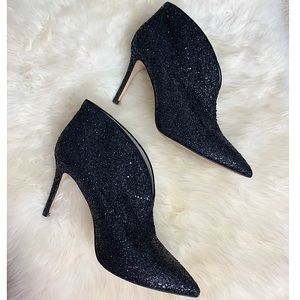 Boden Black Glitter Leather Booties - 10.5/42